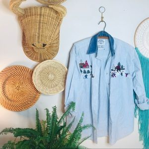 vtg 90s Chambray Christmas hippy Button Up Popover
